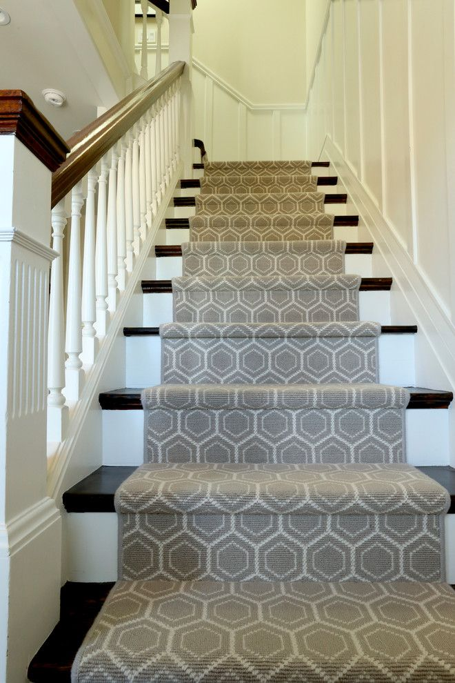 Modern Stair Runner Staircase Traditional With Black And White | Black And White Stair Carpet | Entry Hall | Square Pattern | Luxurious | American Style | Small Space