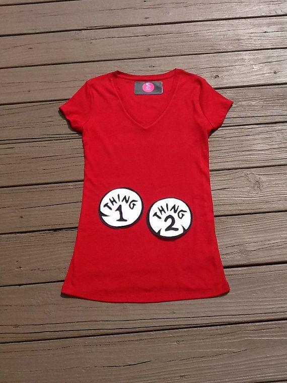 1108dfb56ba5f Dr.Seuss Thing Mom maternity shirt. Thing 1, 2, any number twins. black  white applique. red shirt. Custom clothing By EverythingSorella