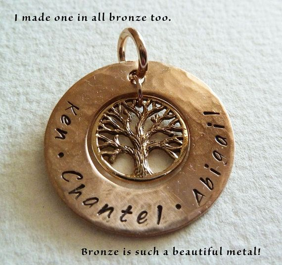 Stamped personalised tree of life name pendant in bronze customised stamped personalised tree of life name pendant in bronze customised pendant only perth western australia aloadofball Image collections