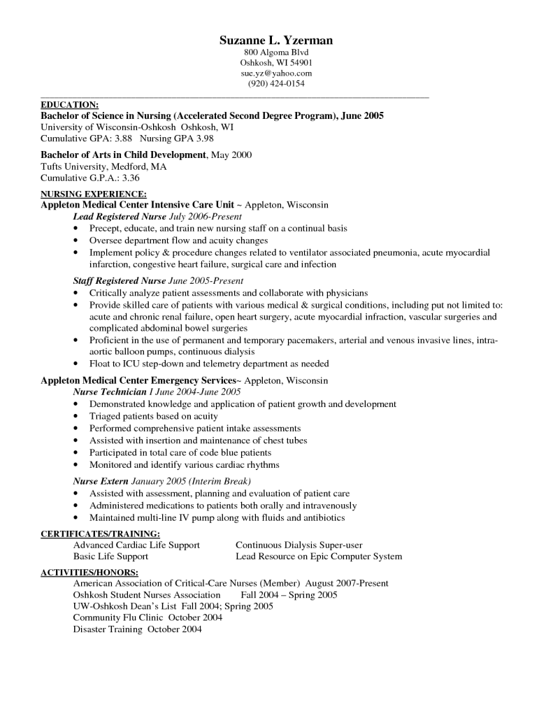 resume exles registered customer service nursing