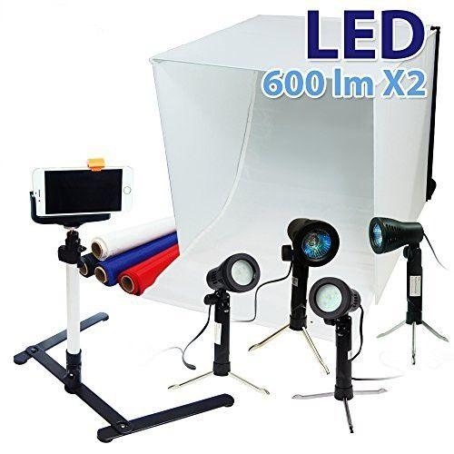 Lusana Studio 24 Folding Photo Box Tent Led Light Table Top Photography Studio Kit Jet Com Table Top Photography Photo Light Box Photography Light Tent