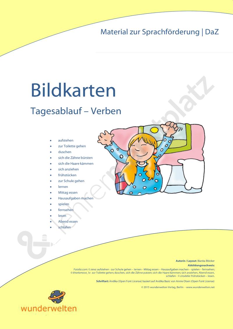 Tagesablauf - Verben: DaZ Material - Vokabeln - Bildkarten | 10 ...