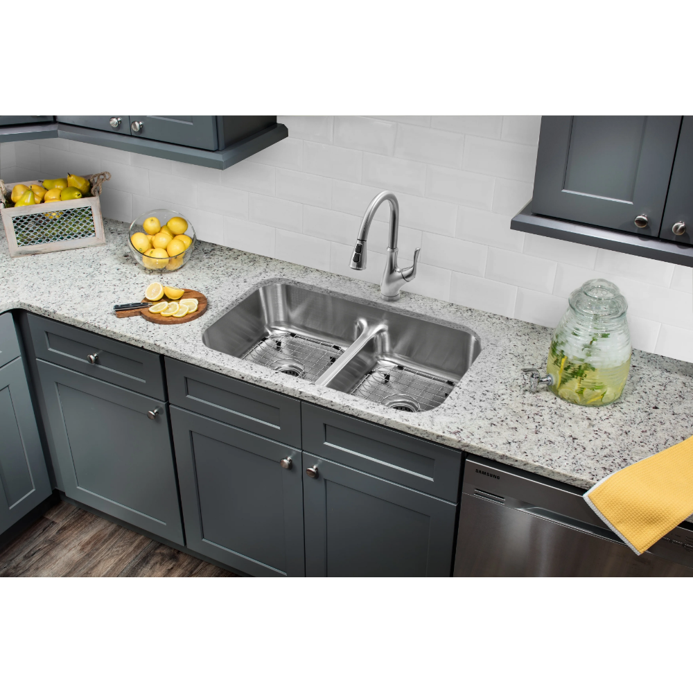 321/2 in. 50/50 Low Divider Stainless Steel Kitchen Sink