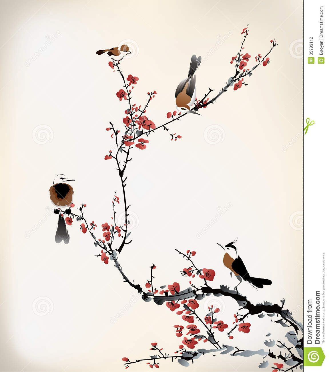 Tato Art Styles: Bird-painting-chinese-ink-tree