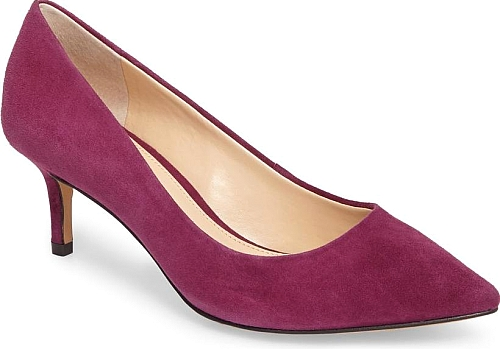 20f6566b7bf Women s Vince Camuto Kemira Pointy Toe Pump in Plum Perfect Suede. A slim kitten  heel