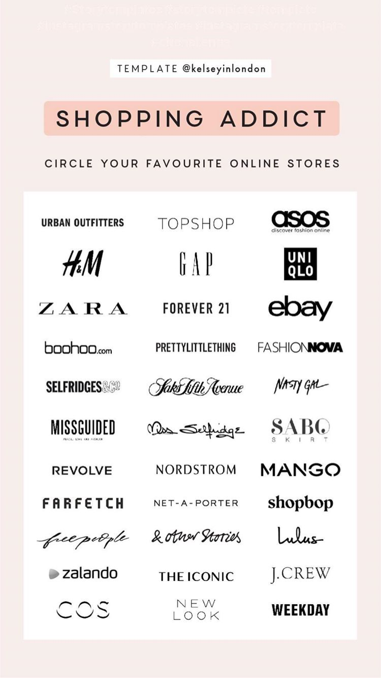 Shopping Addict Instagram Story Template to Circle Your Favorite