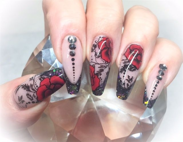 Day 212 Red Black Flower Nail Art Nail Designs Pinterest
