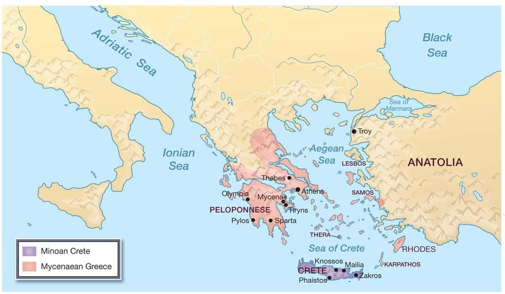 Sea Of Marmara Ancient Greece Map.Map Of Minoan And Mycenaean Territories In Greek Islands History