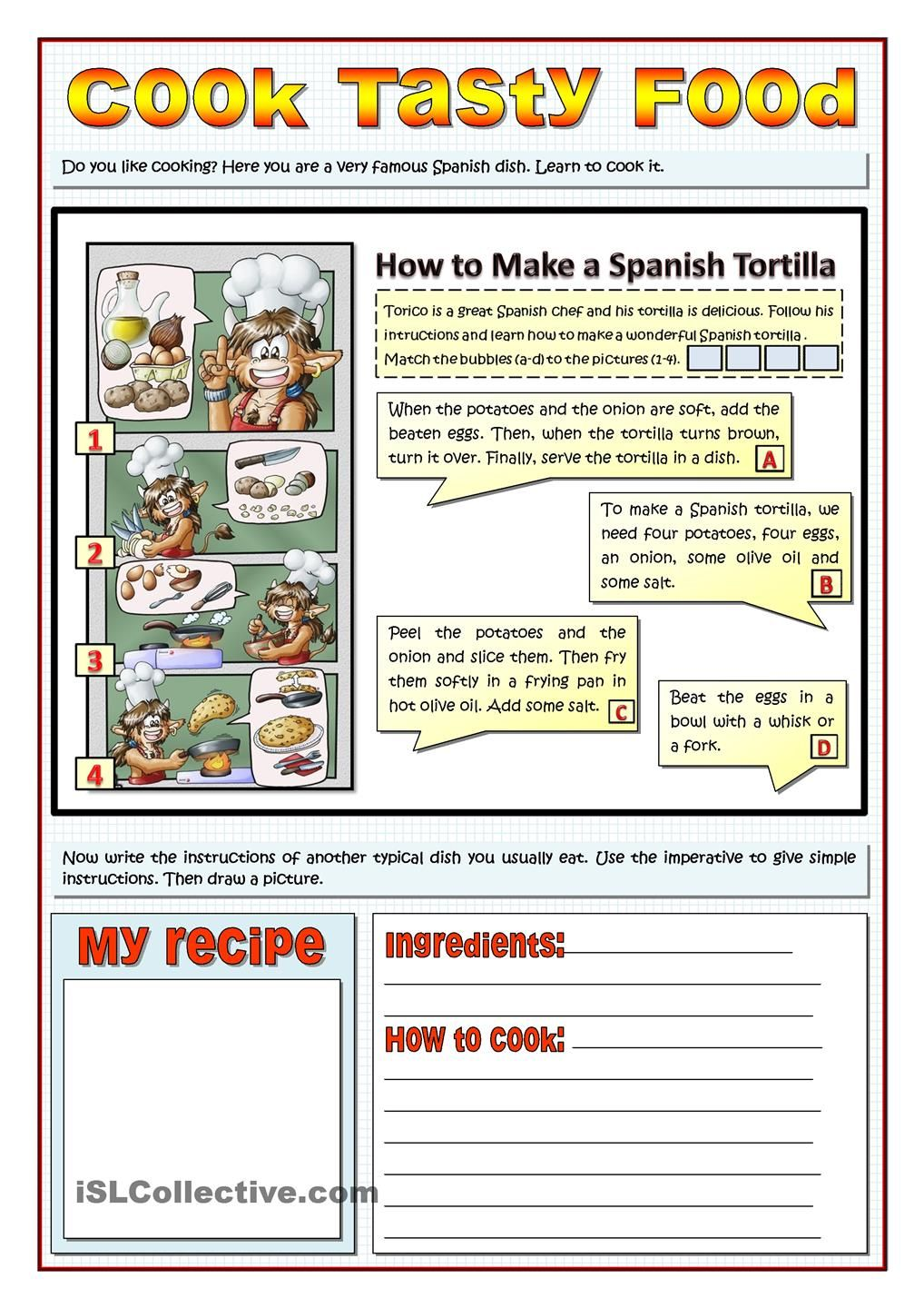 Workbooks spanish food worksheets : COOK TASTY FOOD - RECIPES AND IMPERATIVES | School | Pinterest ...