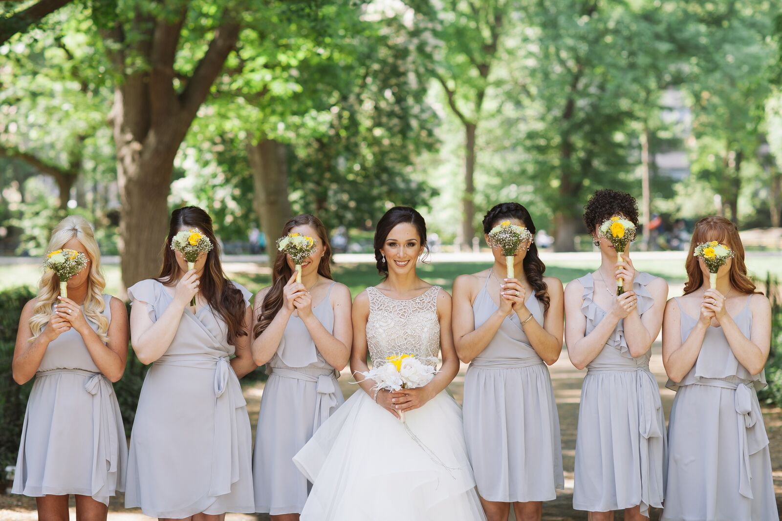 Joanna August Short Bridesmaid Dresses In Silver Bells
