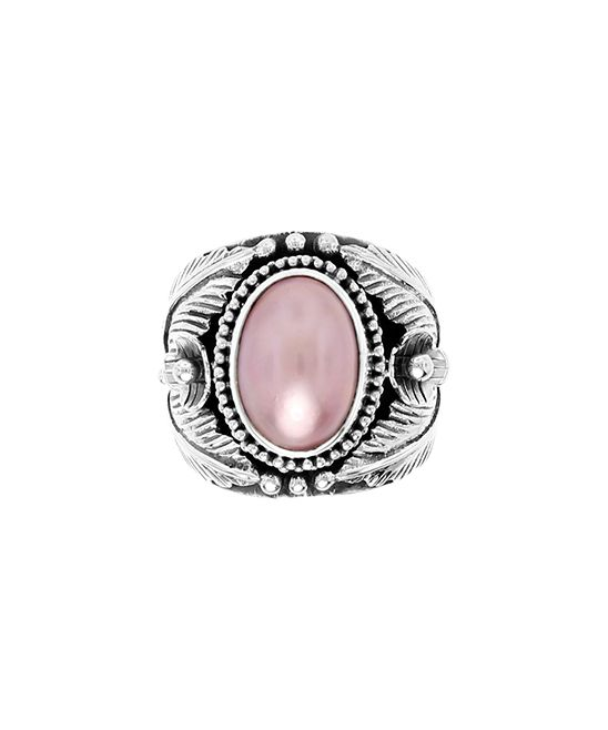 Pink Mabé Pearl & Sterling Silver Floral Statement Ring