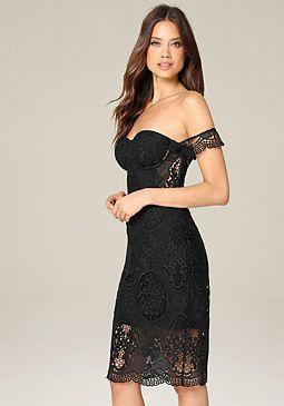 Bebe Crochet Bustier Dress Dresses