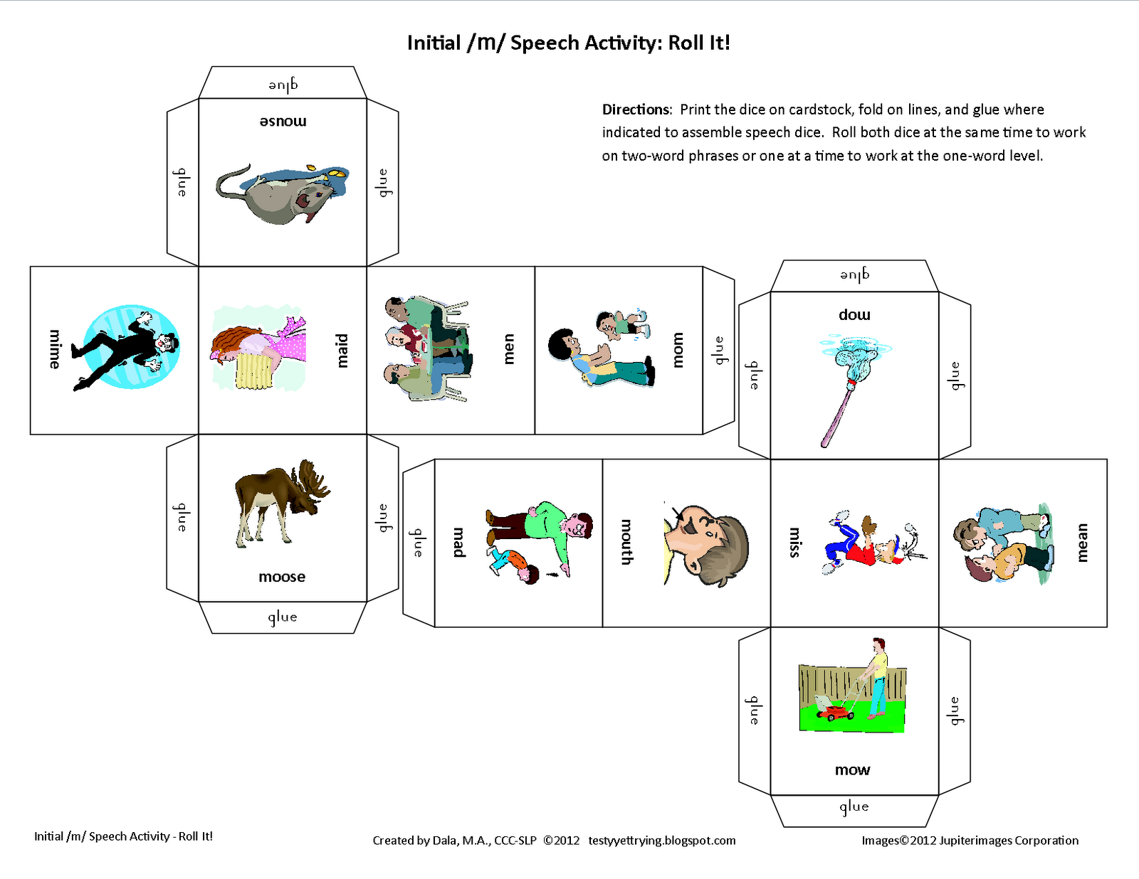 Roll It Printable Initial M Speech Activity With Images