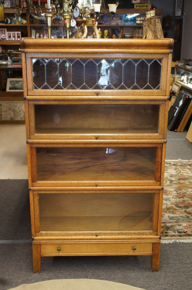 Antique Tiger Oak Barrister Bookcase Lawyer Cabinet Quartersawn Leaded  Glass #MissionArtsCrafts - Antique Tiger Oak Barrister Bookcase Lawyer Cabinet Quartersawn