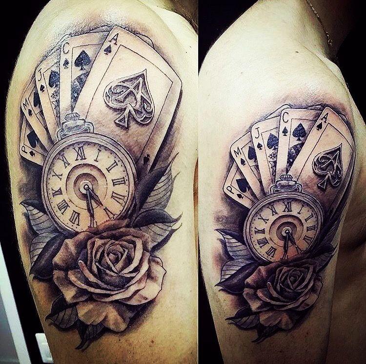 Cartas Reloj Y Rosa Tatuaje Reloj Y Rosa Tatuajes Tatuajes De Relojes