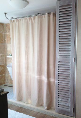 barre rideau de douche sur mesure galbobain et paroi de douche textile lin sable pour douche. Black Bedroom Furniture Sets. Home Design Ideas