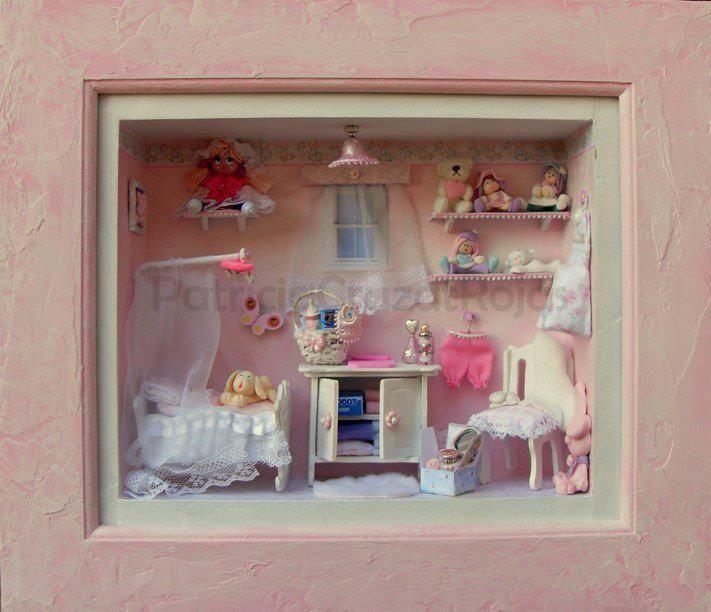 Cuadro dormitorio beb con miniaturas cosas que adoro - Cuadros para decorar habitaciones ...