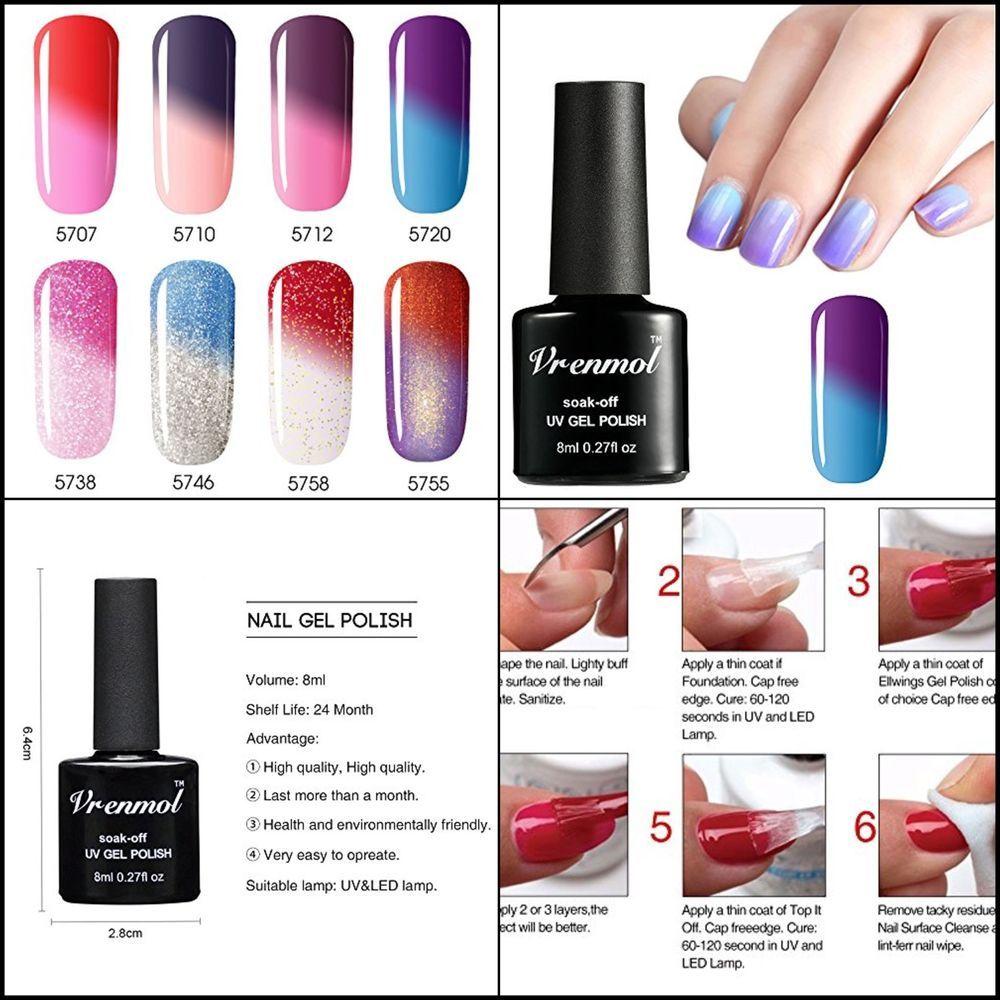8 Gelish Colors Changing Temperature Mini Nail Polish Kit Glitter Uv Light 8ml Vrenmol Nail Polish Gel Nail Polish Gel Nail Polish Set