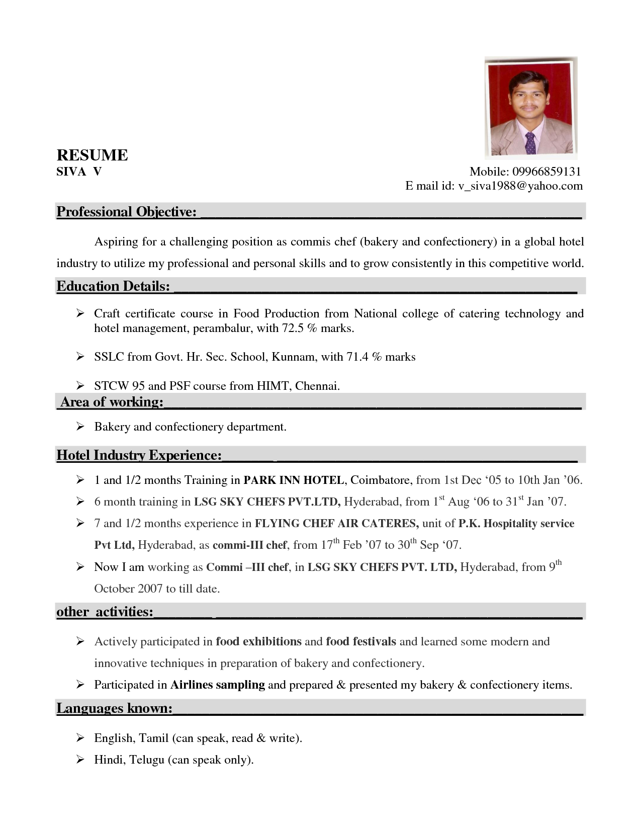 resume sample for hotel chef -