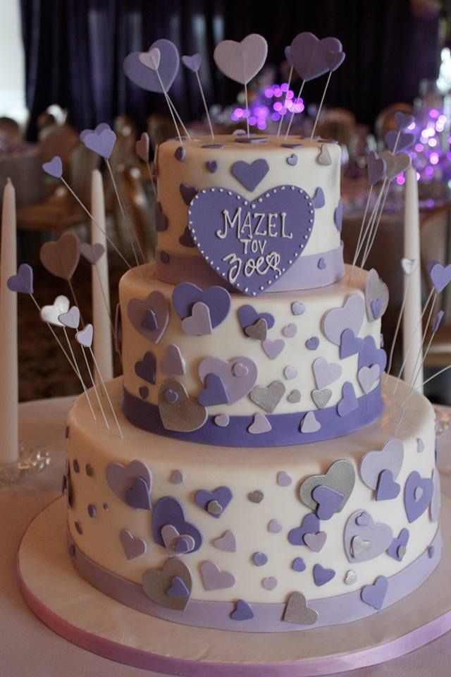 Purple Themed Bat Mitzvah Cake With Hearts To Match The Invitation
