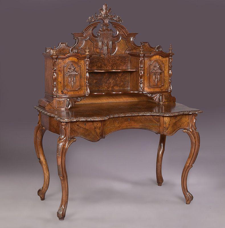Antiguo escritorio ingles victoriano con alzada casas for Muebles escritorios clasicos