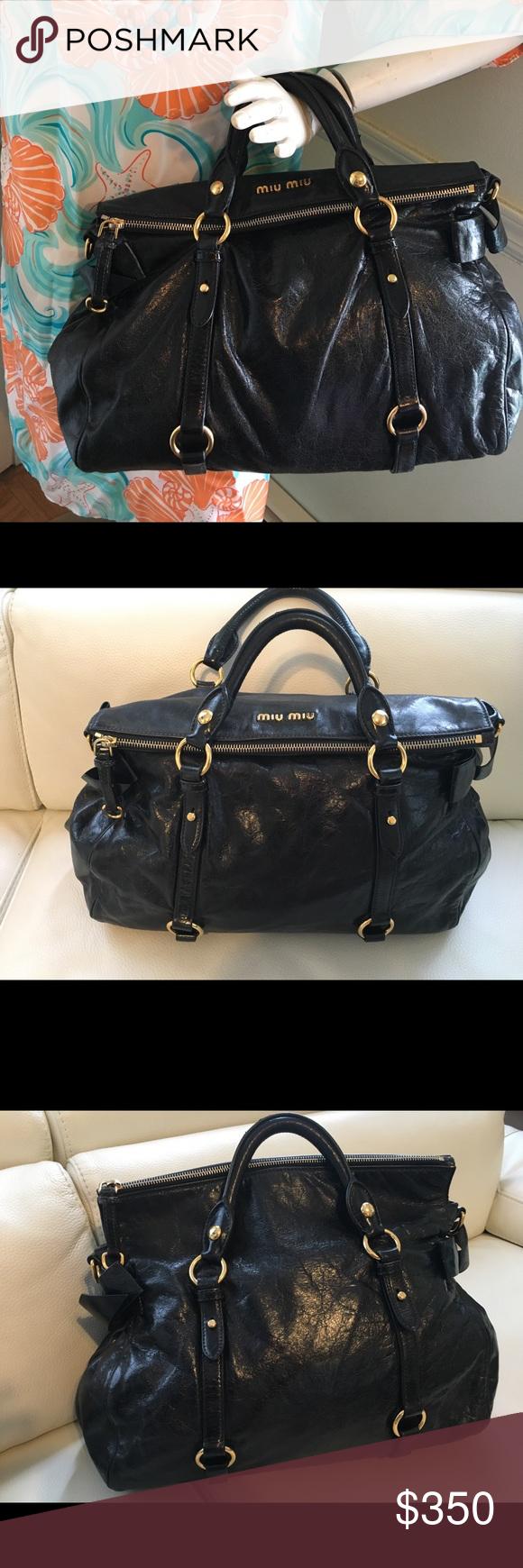 68197e3fb93e MIU MIU Vitello Lux Large Bow Bag Nero Black authentic MIU MIU Vitello Lux  Large Bow
