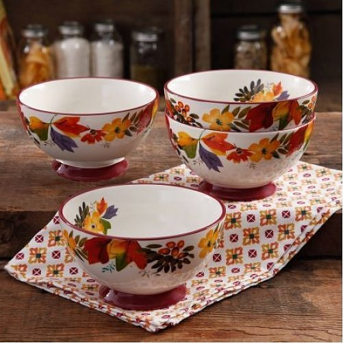 The Pioneer Woman Timeless Floral 6 Inch Footed Bowl Set 4 Pack Round #PioneerWoman