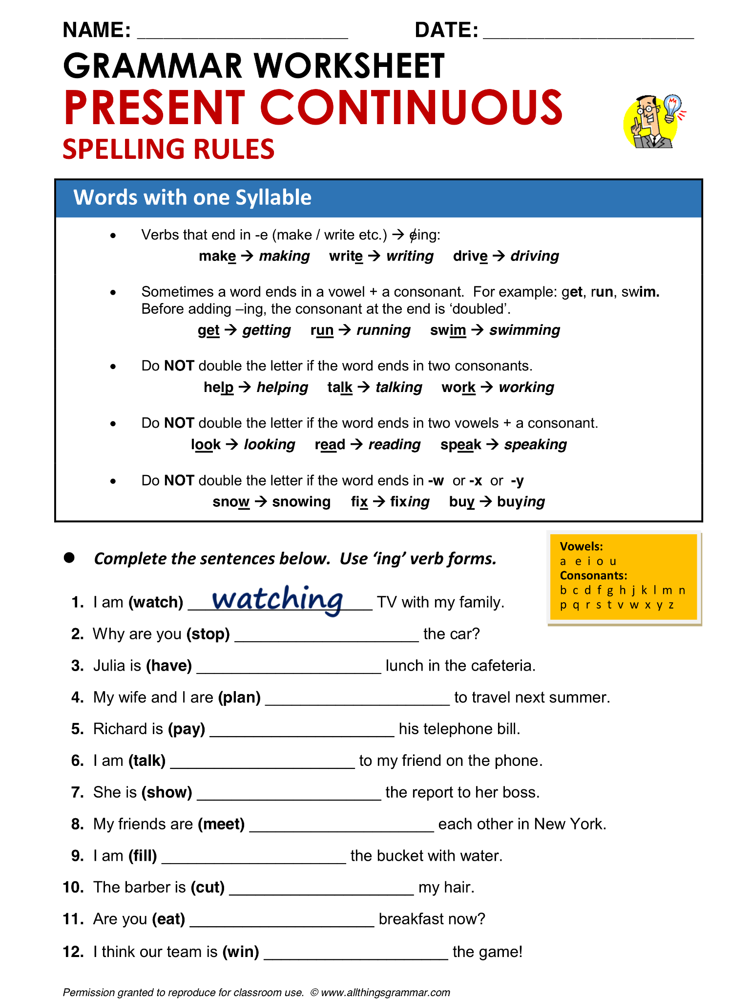 English Grammar Present Continuous Spelling Rules Words