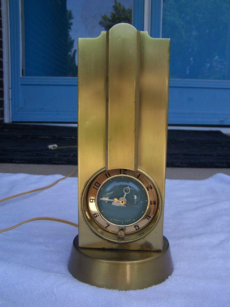 BRASS ART DECO CLOCK LAMP SESSIONS MOVEMENT MID CENTURY MODERN ANTIQUE OLD