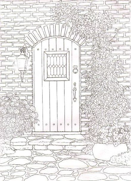 Garden door colouring page coloring
