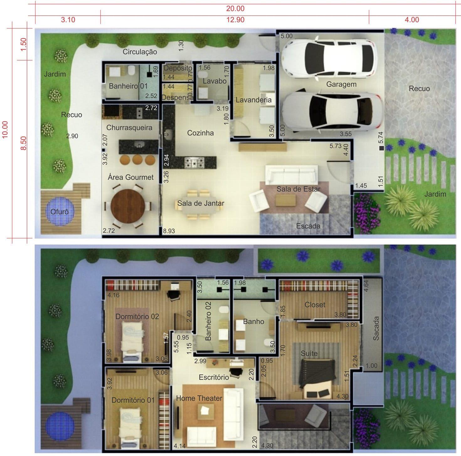 Plano De Casa Con Fachada Moderna Plano Para Terreno
