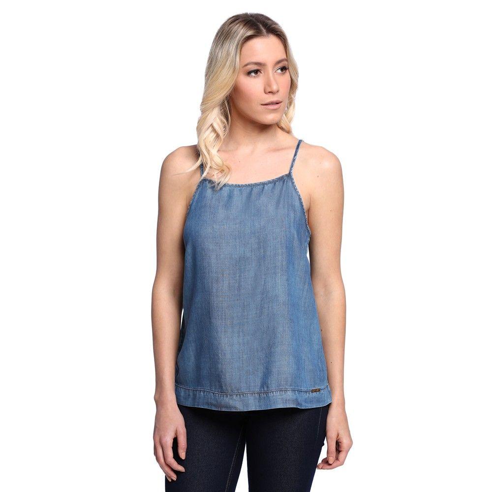3da6fcc714 Blusa Jeans de Alça - Damyller Jeans Feminino