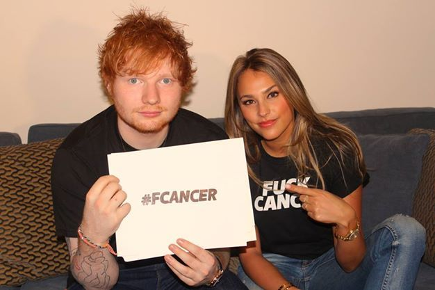 Ed Sheeran supporting foundation Fuck Cancer with Yael Cohen