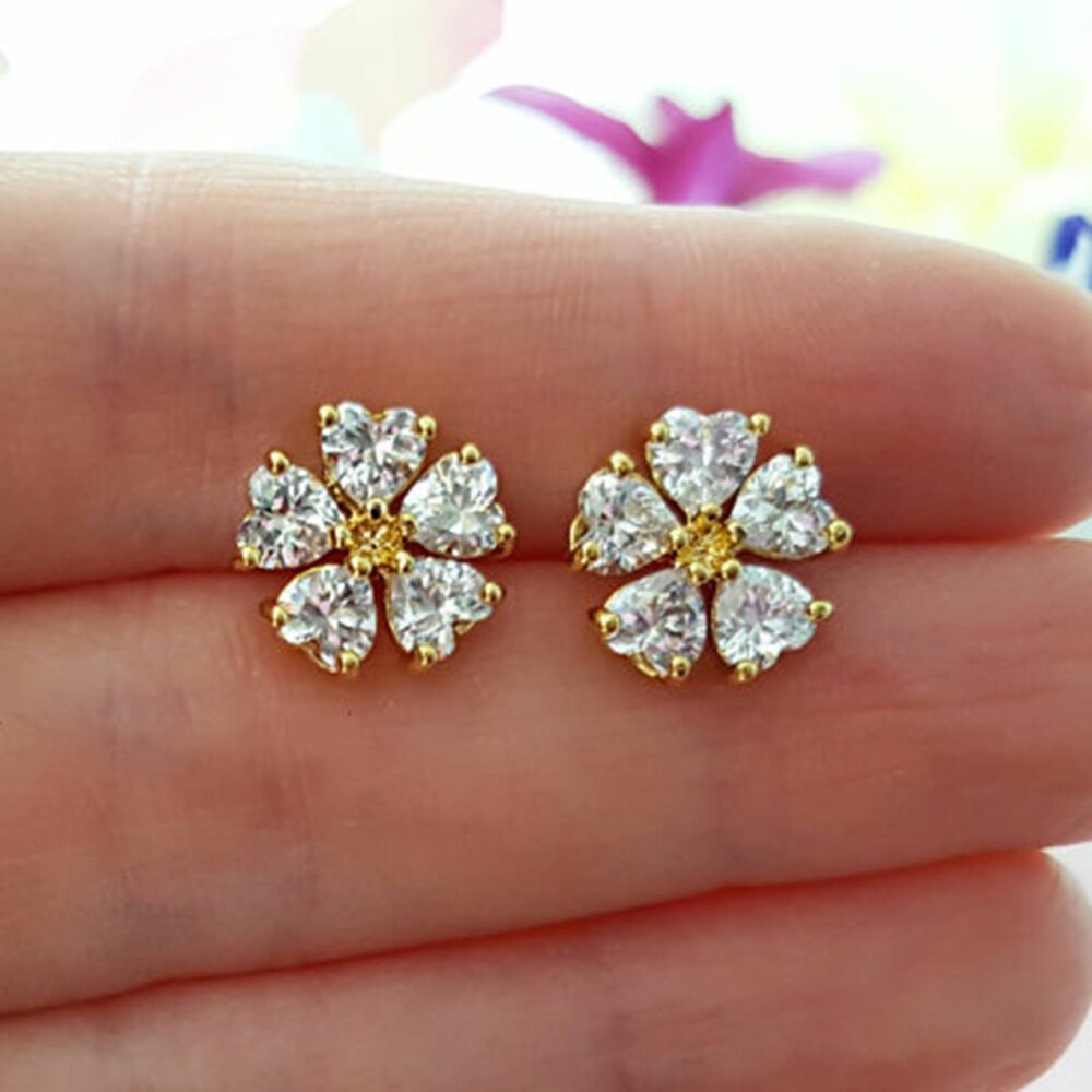 1 00 Ct Heart Shape Diamond Stud Flower Earrings Solid 10k Yellow Gold Houseofkanak Cluster Flower Earrings Studs Stud Earrings Heart Shaped Diamond