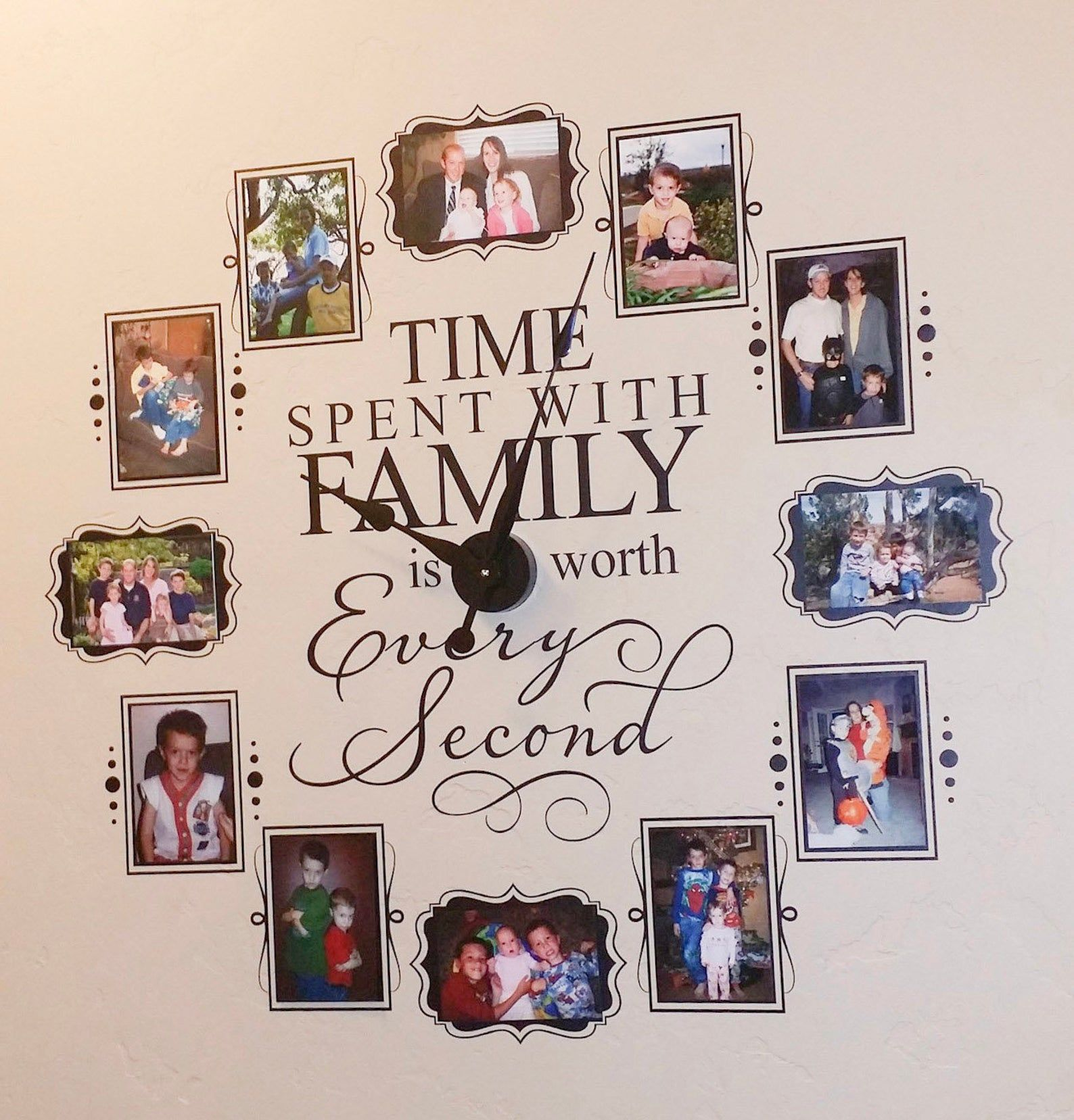 Time Spent Clock - Family is Worth Every Second - Photo Wall Clock w/working clock parts/hands decal - Includes VINYL FRAMES CL205 4 x 6