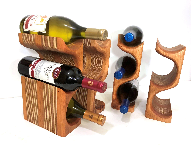 Black Cherry Wood Wine Tower Wine Rack For Kitchen Countertops