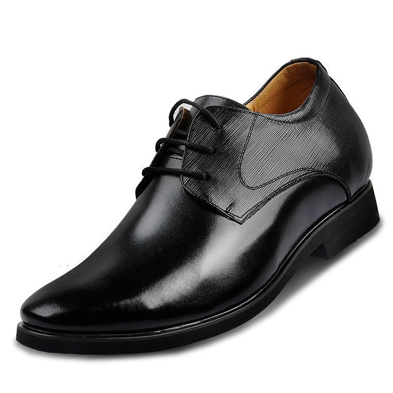 63e772120351 Lace-up mens leather formal business shoes in height increasing lift ...