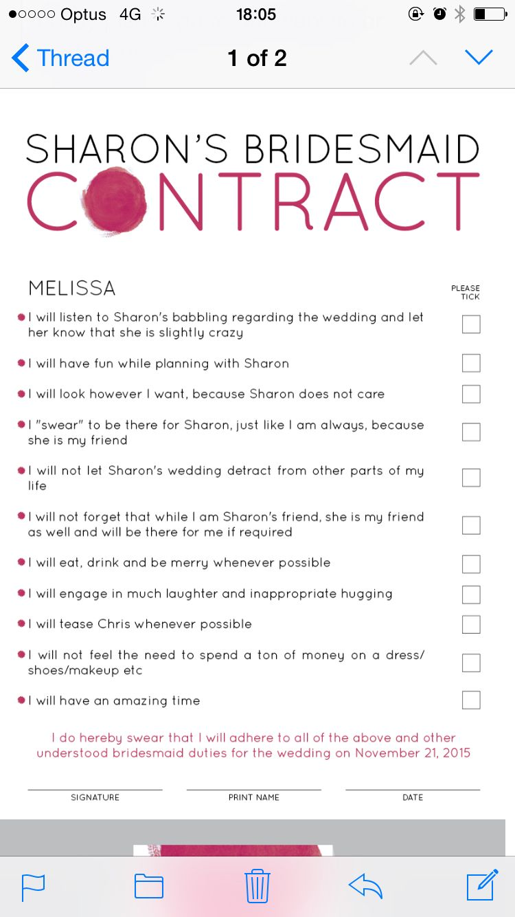 Bridesmaid Contract  A Proposal For My Maids