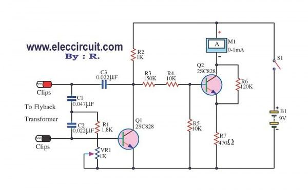 flyback transformer tester circuit using 2sc828 electronic
