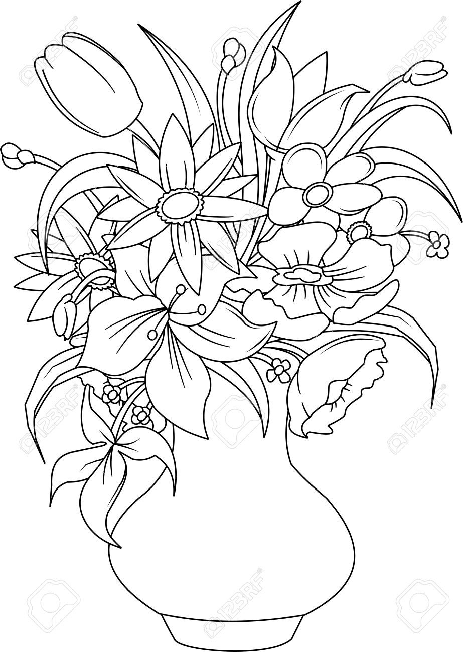 Bouquet Of Summer Flowers In A White Vase, Vector And