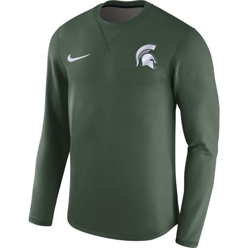 74862b5dba92 Nike Men s Michigan State Spartans Green Modern Football Sideline Crew Long  Sleeve Shirt
