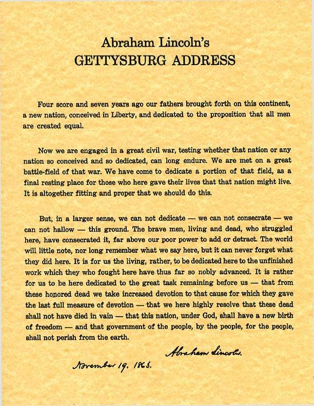 the gettysburg address nov 19 1863 given by abraham lincoln to