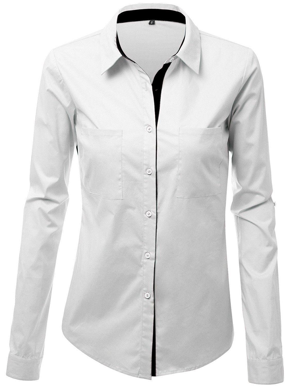 Jzoeoeu Womens Long Sleeve Button Down Shirt Cotton Collared Work Shirts White C01858gmnnt Women S Button Down Shirt Women Long Sleeve Work Shirts [ 1500 x 1125 Pixel ]