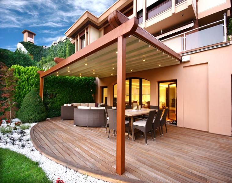 P rgolas madera dise os originales con tejados estilo for Tejados de madera para exterior