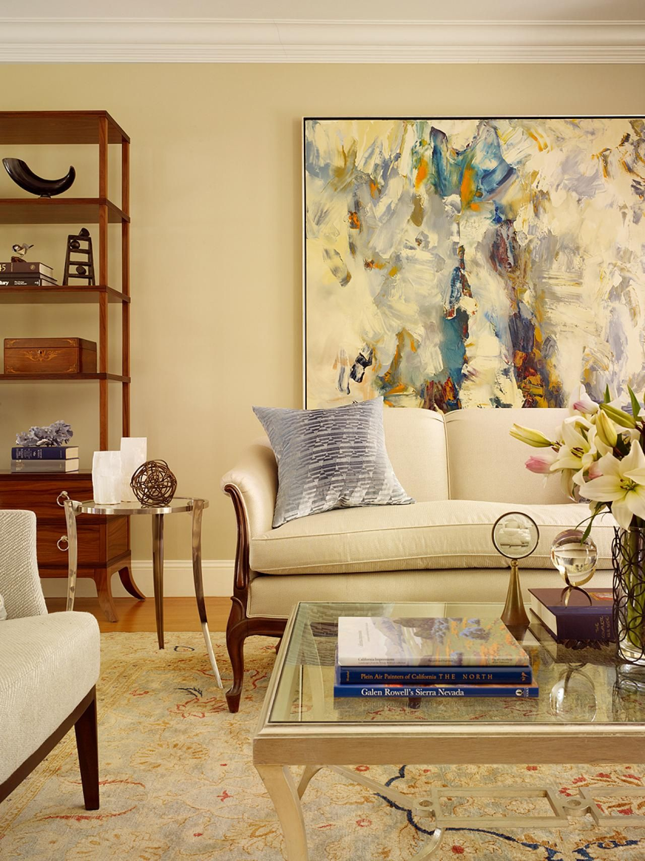 See this contemporary living room decorated with framed artwork on ...