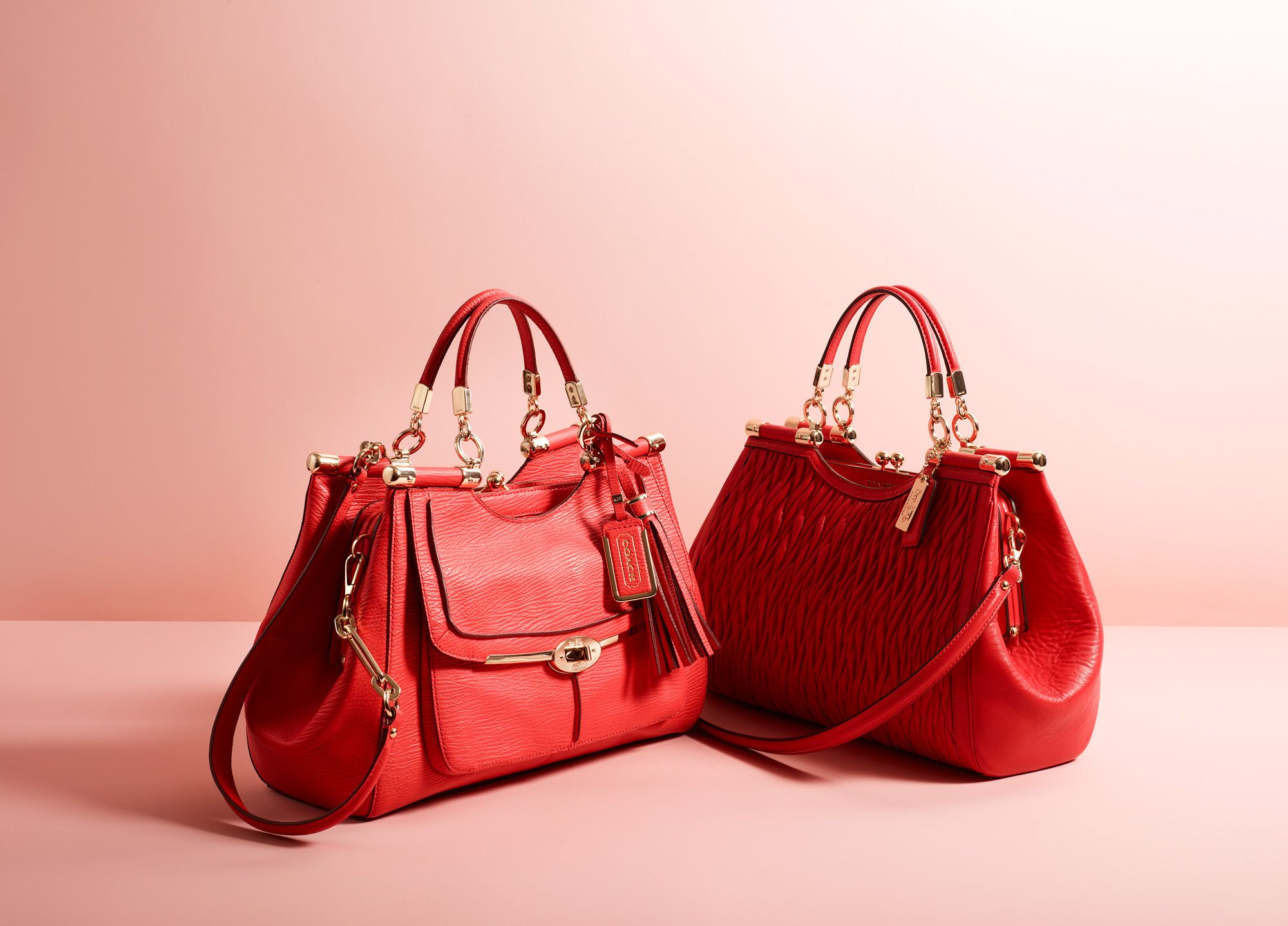 56e6fd5790d2 The Madison Carrie in Gathered Twist Leather and the Madison Pinnacle  Carrie Satchel from Coach