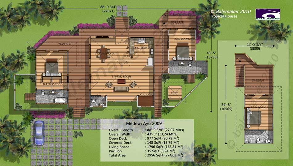 Bali house plans tropical living house design plans for Tropical house plan
