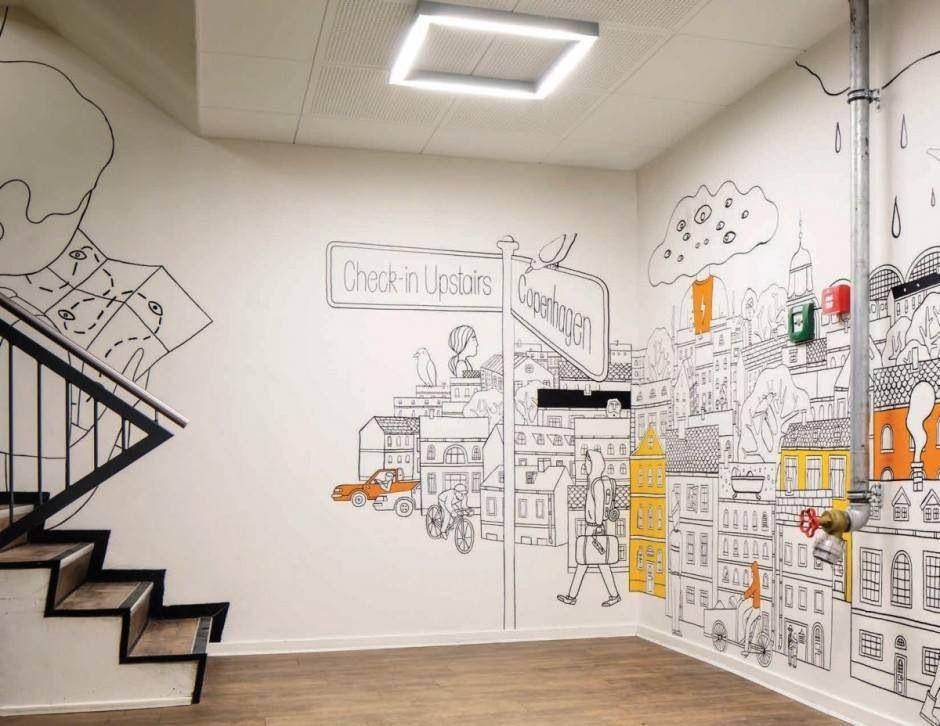 Drawing Wall Hostels Design Office Interior Design Mural Design