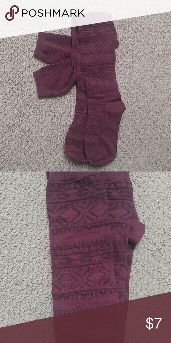 Burgundy Super Socks Fancy and patterned these over the knee socks are sure to add to any outfit. Accessories Hosiery & Socks