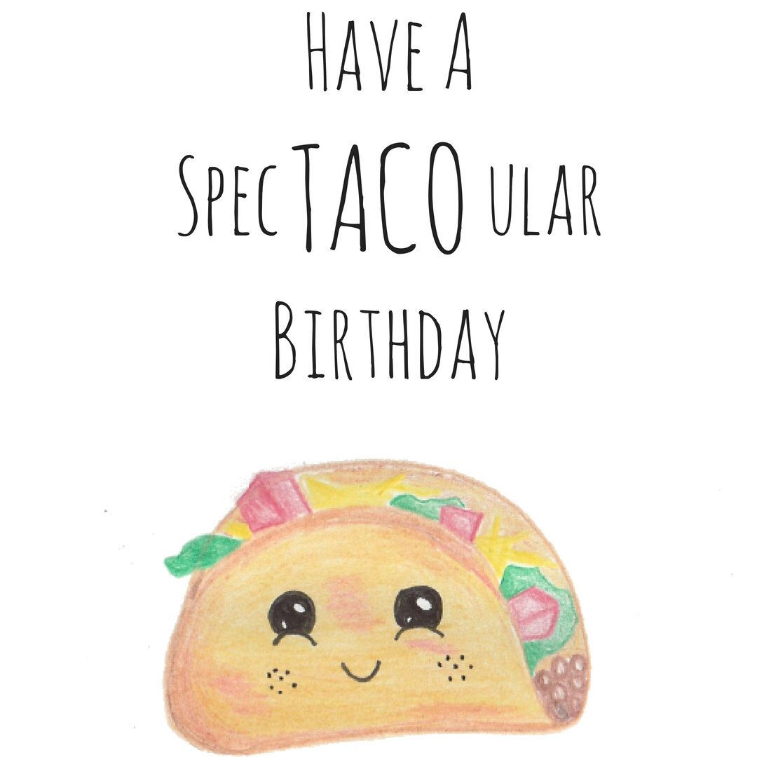 Taco Birthday Card Printable Birthday Card Pun Card Funny Birthday Card Food Birthday Card INSTANT DOWNLOAD Cute Card